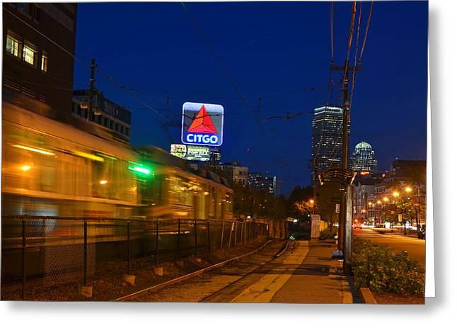 Boston Ma Green Line Train On The Move Greeting Card