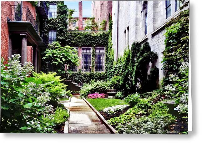 Boston Ma - Hidden Garden Greeting Card by Susan Savad