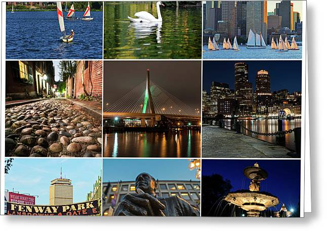 Boston Ma Nine Image Collage 1 Greeting Card by Toby McGuire