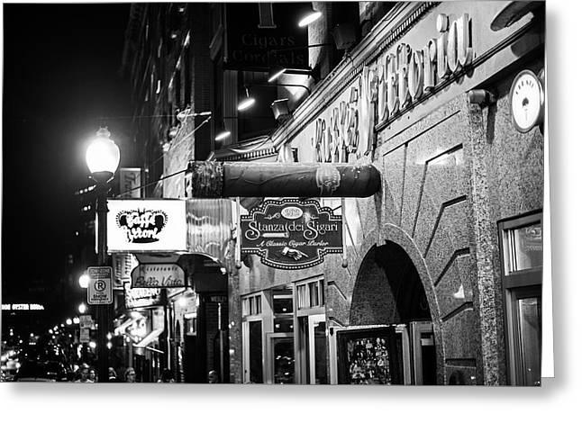 Boston Ma North End Cigar Shop Black And White Greeting Card