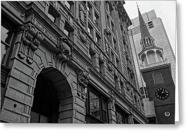 Boston Ma Old South Building Black And White Greeting Card