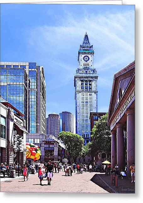 Boston Ma - Quincy Market Greeting Card by Susan Savad