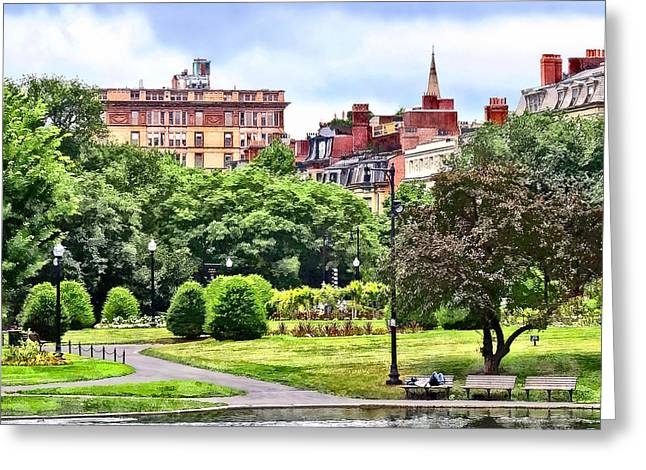 Boston Ma - Relaxing In Boston Public Garden Greeting Card by Susan Savad