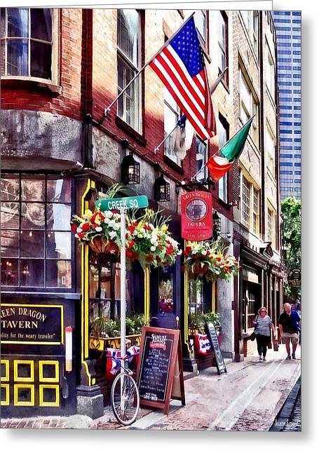 Boston Ma - Restaurants On Creek Square Greeting Card by Susan Savad