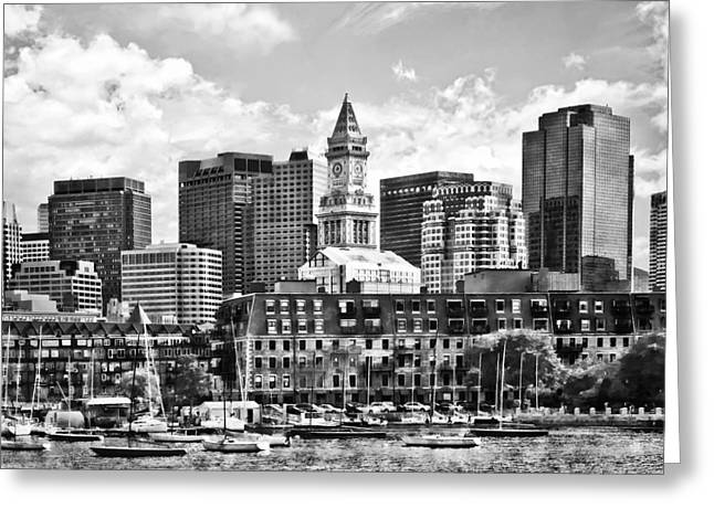 Boston Ma - Skyline With Custom House Tower Black And White Greeting Card by Susan Savad