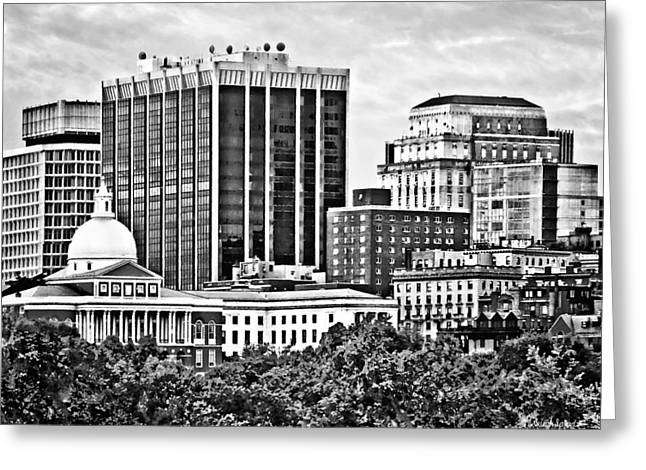 Boston Ma - Skyline With Massachusetts State House Black And White Greeting Card