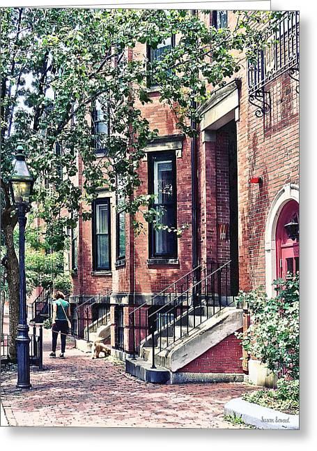 Boston Ma - Walking The Dog On Mount Vernon Street Greeting Card