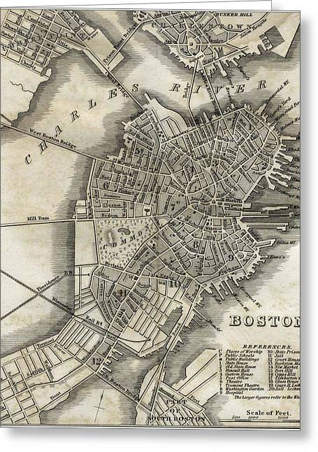 Boston Map Of 1842 Greeting Card by George Pedro
