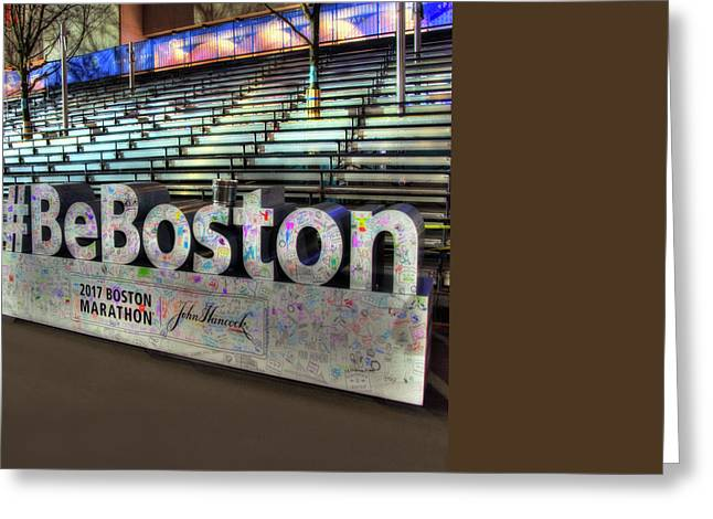 Greeting Card featuring the photograph Boston Marathon Sign by Joann Vitali