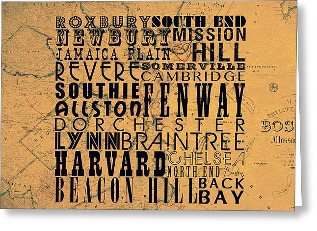 Boston Mass V2 Greeting Card by Brandi Fitzgerald