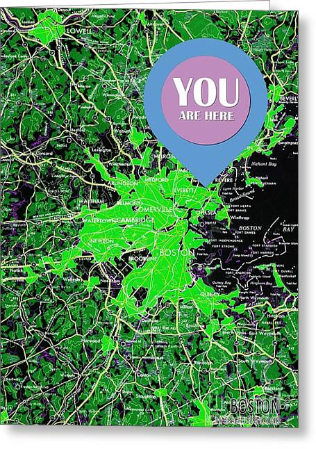 Boston Massachusetts 1948 Green Map You Are Here Greeting Card by Pablo Franchi