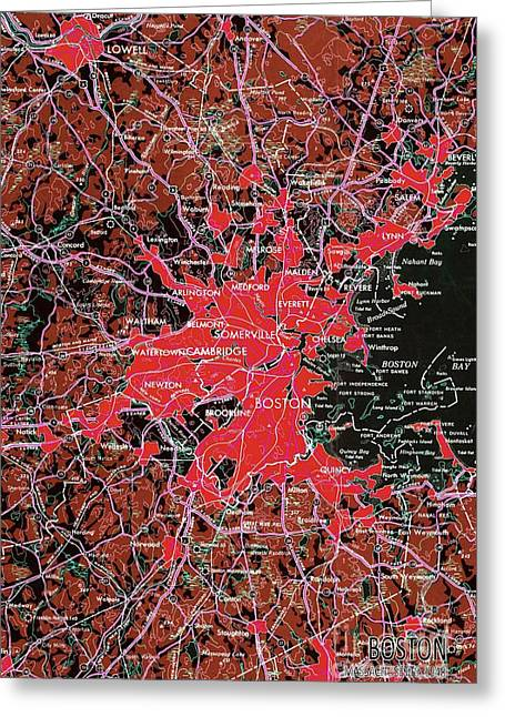 Boston Massachusetts 1948 Red Old Map Greeting Card by Pablo Franchi