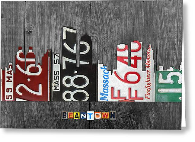 Boston Massachusetts Beantown Vintage License Plate Art City Skyline Greeting Card