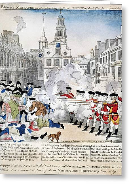 Redcoats Greeting Cards - Boston Massacre, 1770 Greeting Card by Granger