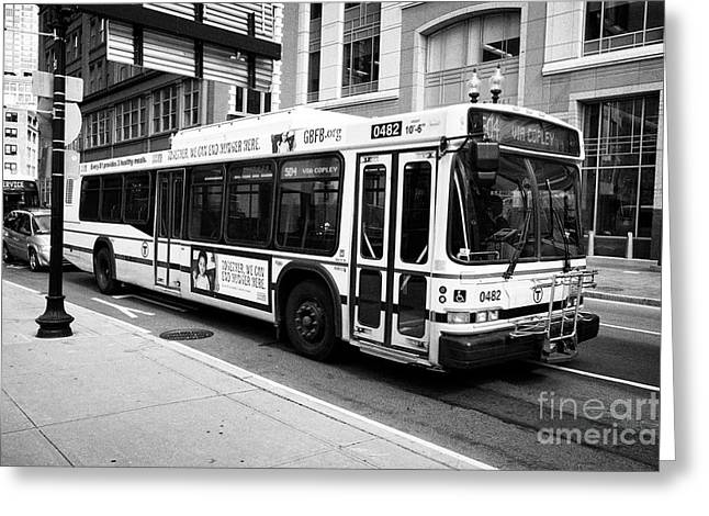 Boston Mbta Neoplan An440lf Diesel Bus Usa Greeting Card