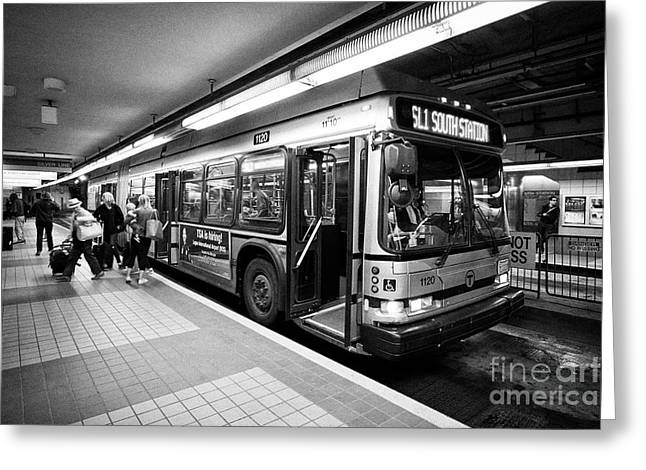 Boston Mbta Silver Line An470f Neoplan Usa Articulated Bus Usa Greeting Card