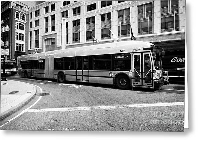 Boston Mbta Silver Line Xde60 Articulated Bus Usa Greeting Card