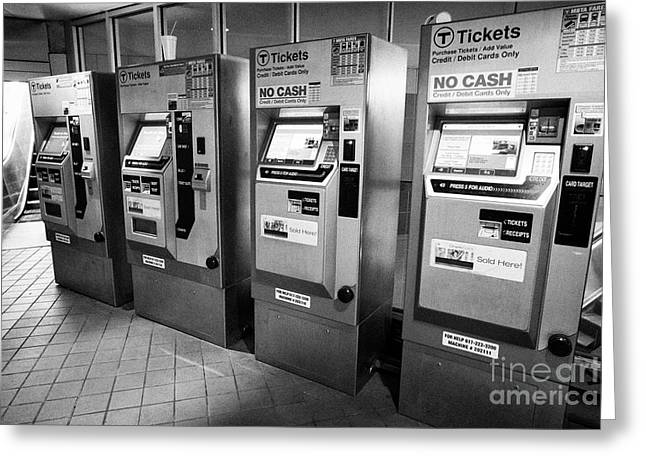 boston metro mbta ticket fare machines South Street Station Boston USA Greeting Card