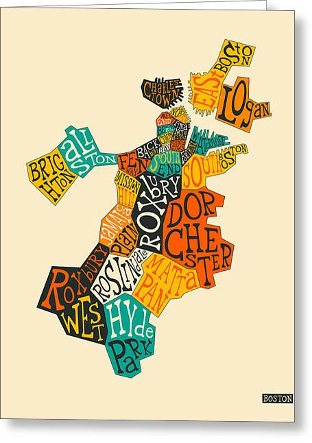 Boston Neighborhoods Map Typography Greeting Card by Jazzberry Blue