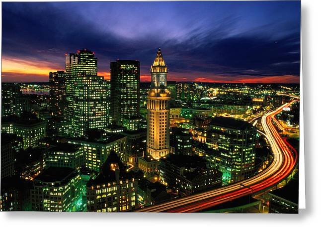 Boston Night Aerial With Time Exposure Greeting Card by Joel Sartore