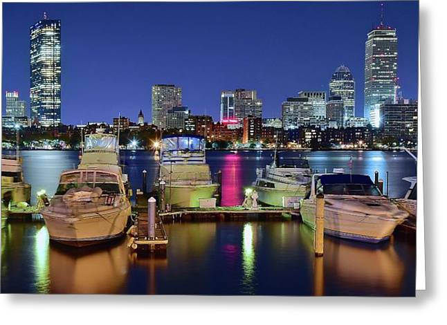 Boston Night Panoramic View Greeting Card by Frozen in Time Fine Art Photography