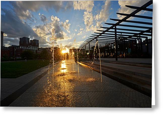Boston North End Park Fountains Sunset Greeting Card