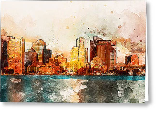 Boston, Panorama - 10 Greeting Card