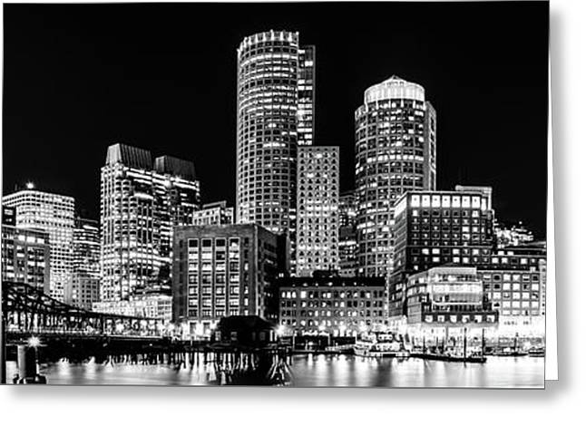 Boston Panorama Cityscape Black And White Photo  Greeting Card