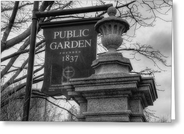 Boston Public Garden - Black And White Square Greeting Card