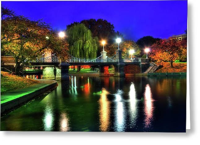 Boston Public Garden In Autumn At Night Greeting Card
