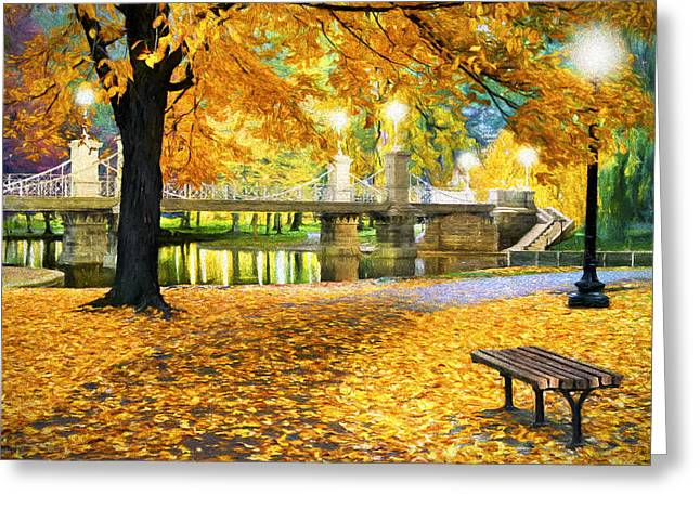 Boston Public Garden Greeting Card by James Charles