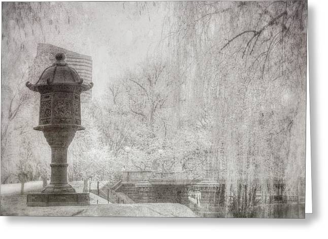Boston Public Garden Japanese Lantern - Black And White Greeting Card by Joann Vitali
