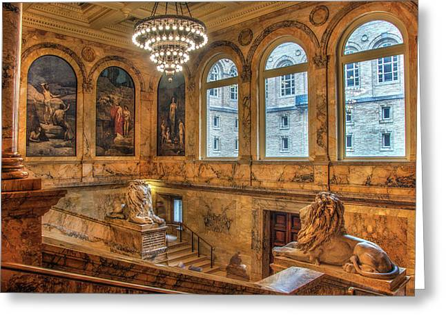 Greeting Card featuring the photograph Boston Public Library Architecture by Joann Vitali