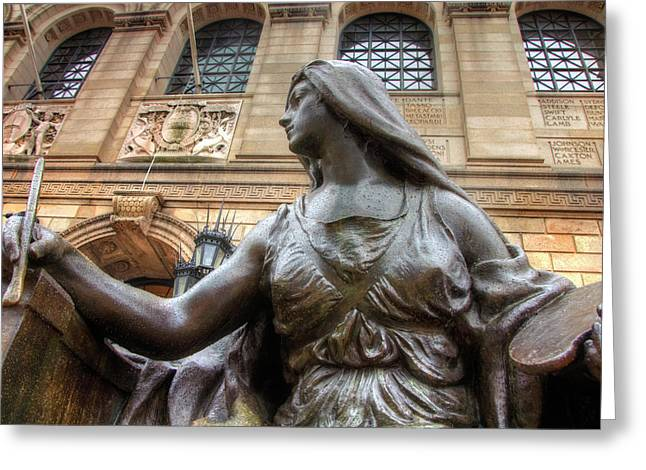 Greeting Card featuring the photograph Boston Public Library Lady Sculpture by Joann Vitali