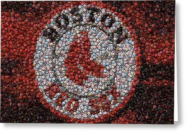Boston Red Sox Bottle Cap Mosaic Greeting Card by Paul Van Scott