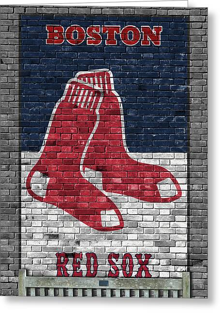 Boston Red Sox Brick Wall Greeting Card by Joe Hamilton