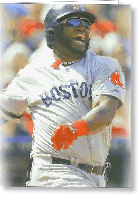 Boston Red Sox David Ortiz 3 Greeting Card by Joe Hamilton
