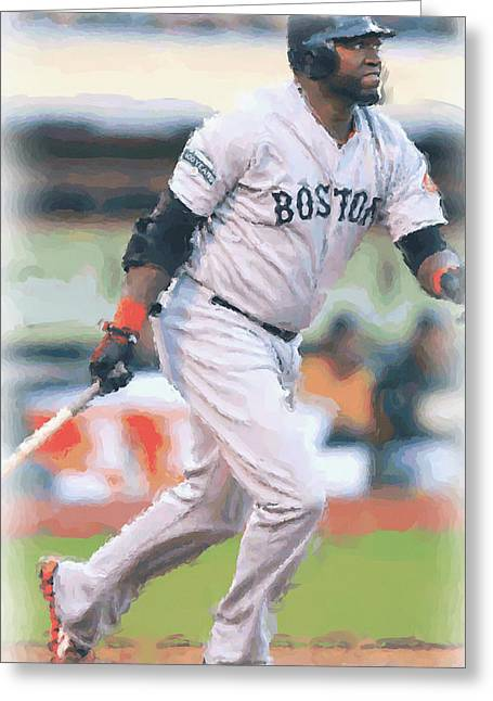 Boston Red Sox David Ortiz Greeting Card by Joe Hamilton