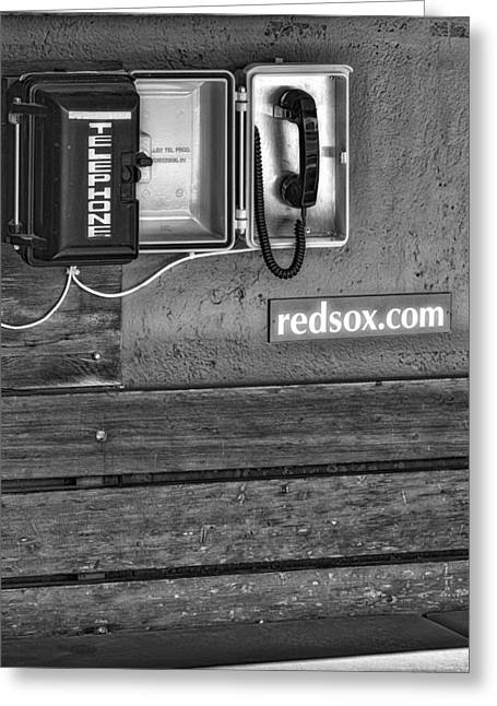 Boston Red Sox Dugout Telephone Bw Greeting Card