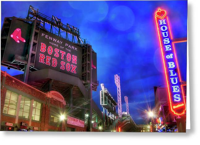 Boston Red Sox Fenway Park At Night  Greeting Card