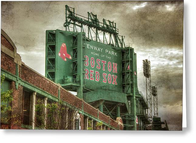 Boston Red Sox Fenway Park Scoreboard Greeting Card