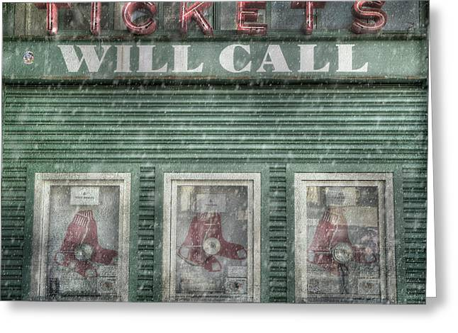 Boston Red Sox Fenway Park Ticket Booth In Winter Greeting Card by Joann Vitali