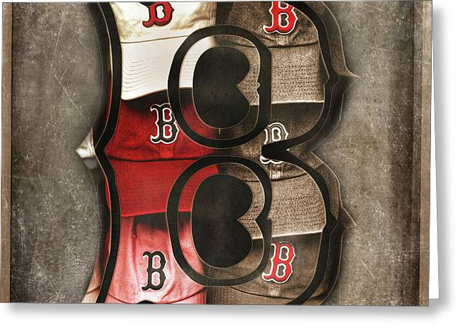 Greeting Card featuring the photograph Boston Red Sox  - Letter B by Joann Vitali