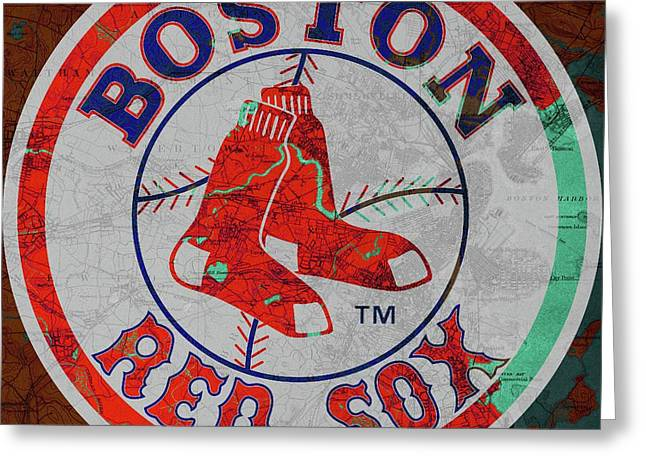 Boston Red Sox Logo On Old Boston Map Greeting Card by Pablo Franchi