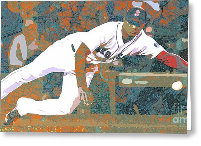 Boston Red Sox Player On Boston Harbor Map Greeting Card by Pablo Franchi
