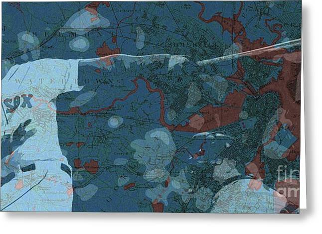 Boston Red Sox Player On Boston Harbor Map, Vintage Blue Greeting Card by Pablo Franchi