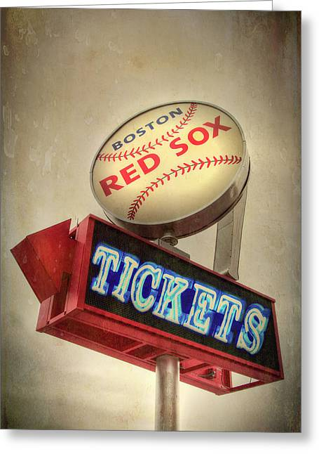 Boston Red Sox Vintage Baseball Sign Greeting Card by Joann Vitali