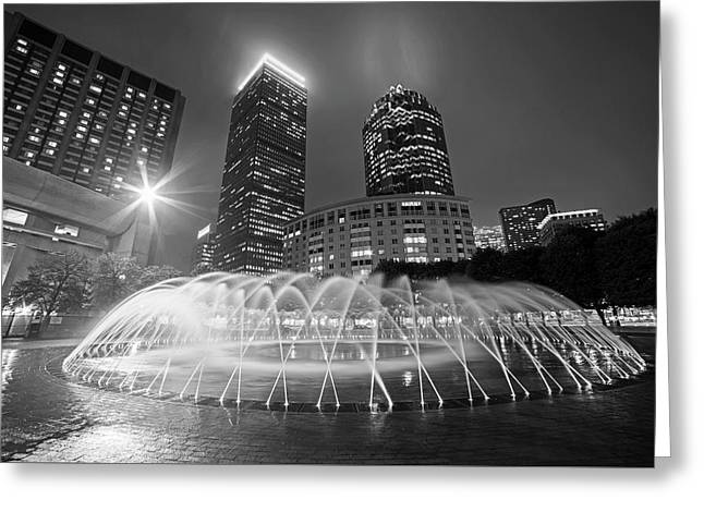Boston Reflecting Pool Fountain Boston Ma Black And White Greeting Card by Toby McGuire