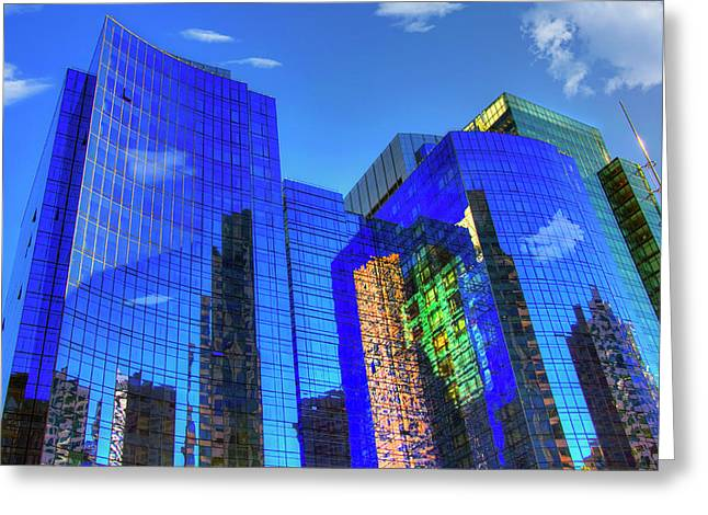 Greeting Card featuring the photograph Boston Reflections - Fort Point Channel by Joann Vitali