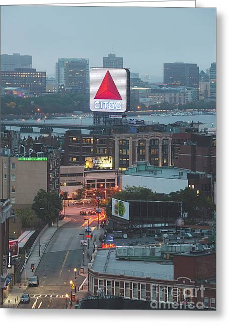Boston Skyline Aerial Photo With Citgo Sign Greeting Card by Paul Velgos